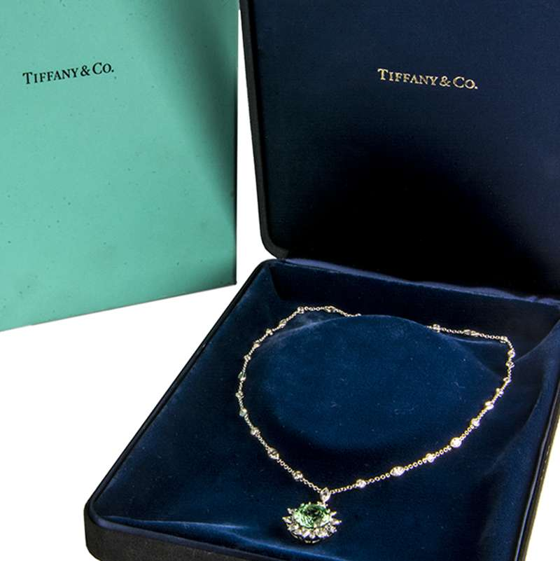 Tiffany & Co. Tourmaline & Diamond Pendant in Platinum